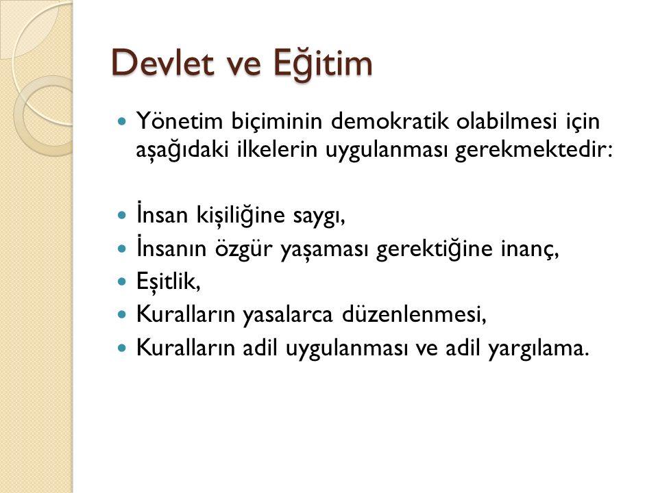 Devlet ve Eğitim Yönetim biçiminin demokratik olabilmesi için aşağıdaki ilkelerin uygulanması gerekmektedir: