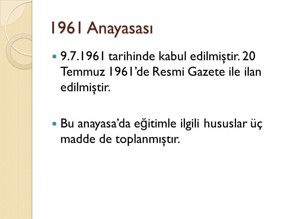 1961 Anayasası 9.7.1961 tarihinde kabul edilmiştir. 20 Temmuz 1961'de Resmi Gazete ile ilan edilmiştir.