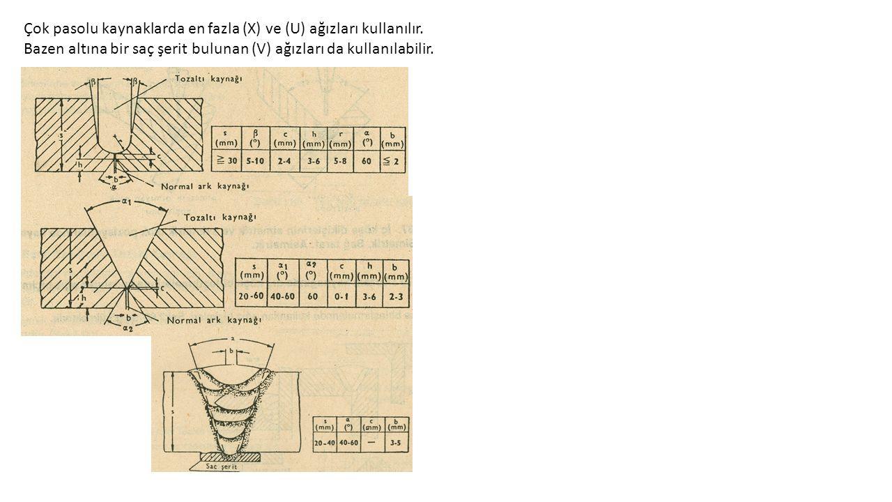 Çok pasolu kaynaklarda en fazla (X) ve (U) ağızları kullanılır