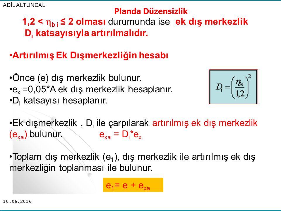 1,2 < b i ≤ 2 olması durumunda ise ek dış merkezlik