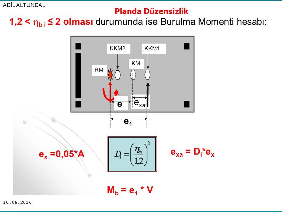 1,2 < b i ≤ 2 olması durumunda ise Burulma Momenti hesabı: