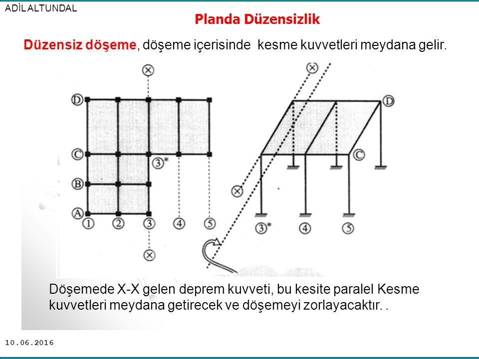 Düzensiz döşeme, döşeme içerisinde kesme kuvvetleri meydana gelir.