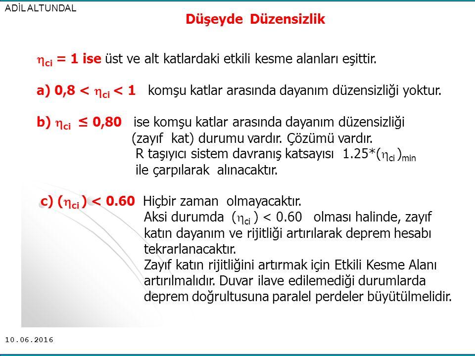 ci = 1 ise üst ve alt katlardaki etkili kesme alanları eşittir.