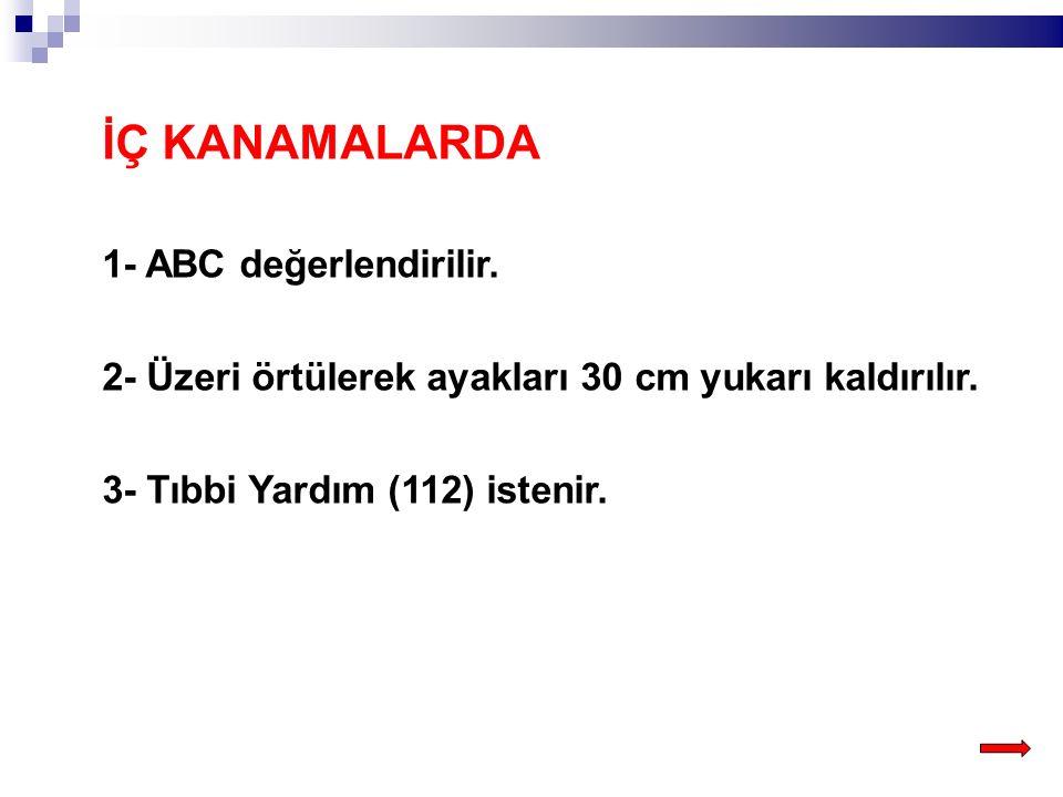 İÇ KANAMALARDA 1- ABC değerlendirilir.