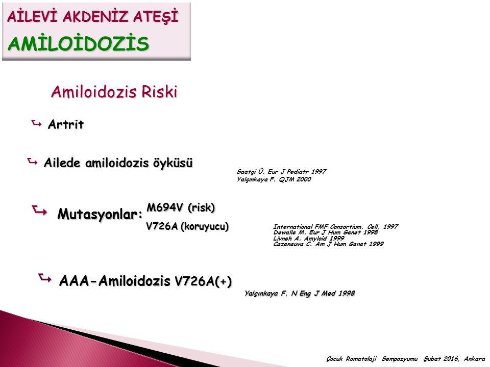  Mutasyonlar: Amiloidozis Riski  AAA-Amiloidozis V726A(+)
