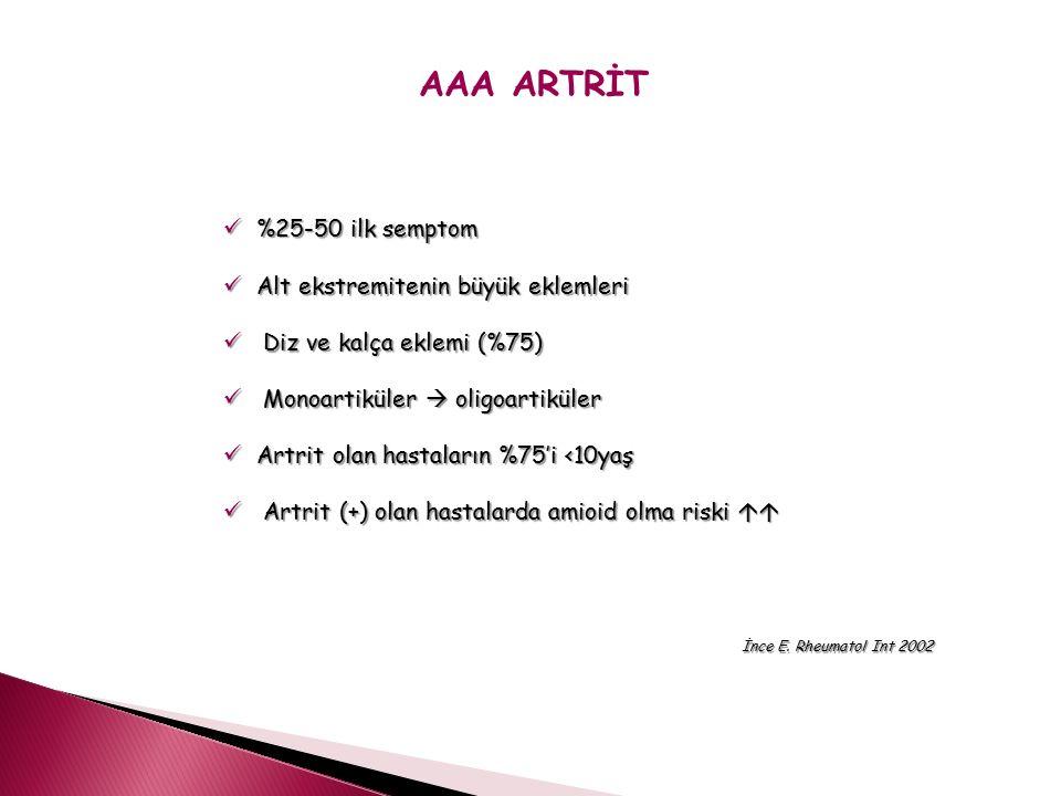 AAA ARTRİT %25-50 ilk semptom Alt ekstremitenin büyük eklemleri
