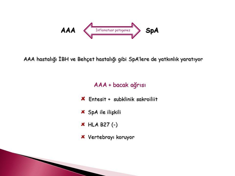 AAA SpA AAA + bacak ağrısı Entesit + subklinik sakroiliit