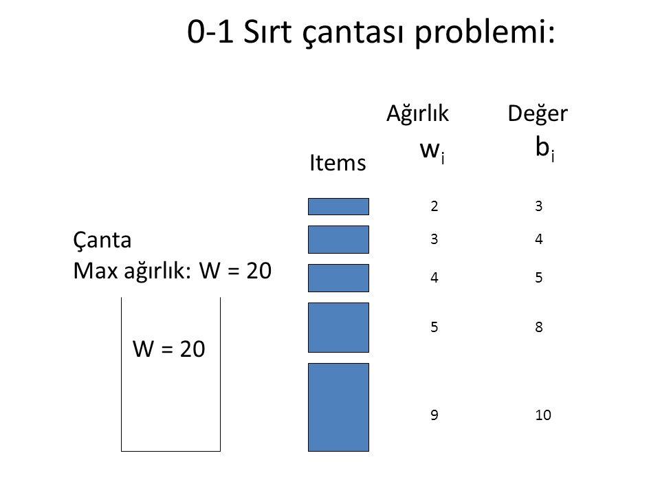 0-1 Sırt çantası problemi: