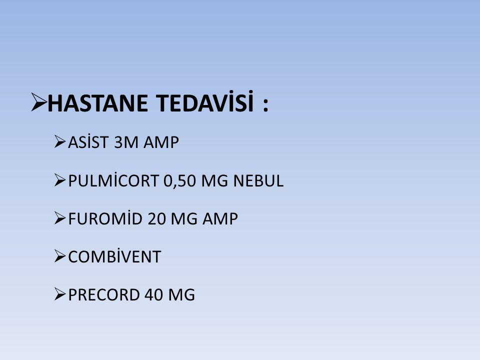 HASTANE TEDAVİSİ : ASİST 3M AMP PULMİCORT 0,50 MG NEBUL