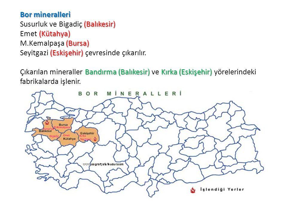 Bor mineralleri Susurluk ve Bigadiç (Balıkesir) Emet (Kütahya) M.Kemalpaşa (Bursa) Seyitgazi (Eskişehir) çevresinde çıkarılır.