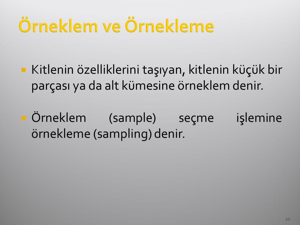 Örneklem ve Örnekleme Kitlenin özelliklerini taşıyan, kitlenin küçük bir parçası ya da alt kümesine örneklem denir.