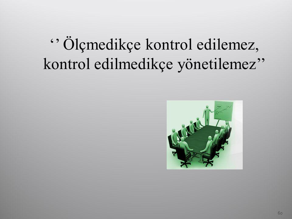 '' Ölçmedikçe kontrol edilemez, kontrol edilmedikçe yönetilemez''