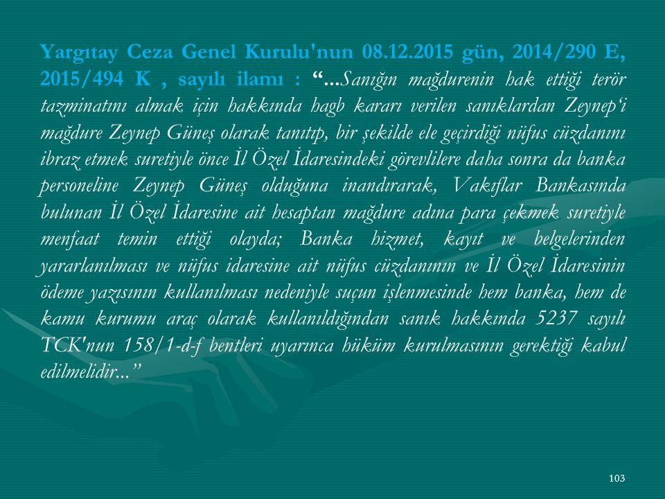 Yargıtay Ceza Genel Kurulu nun 08. 12