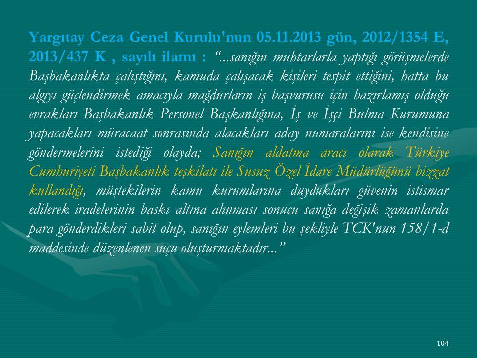 Yargıtay Ceza Genel Kurulu nun 05. 11