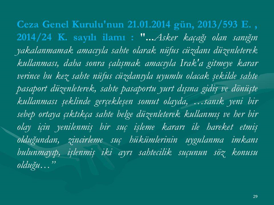 Ceza Genel Kurulu nun 21. 01. 2014 gün, 2013/593 E. , 2014/24 K