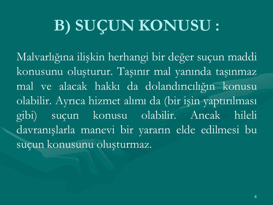 B) SUÇUN KONUSU :