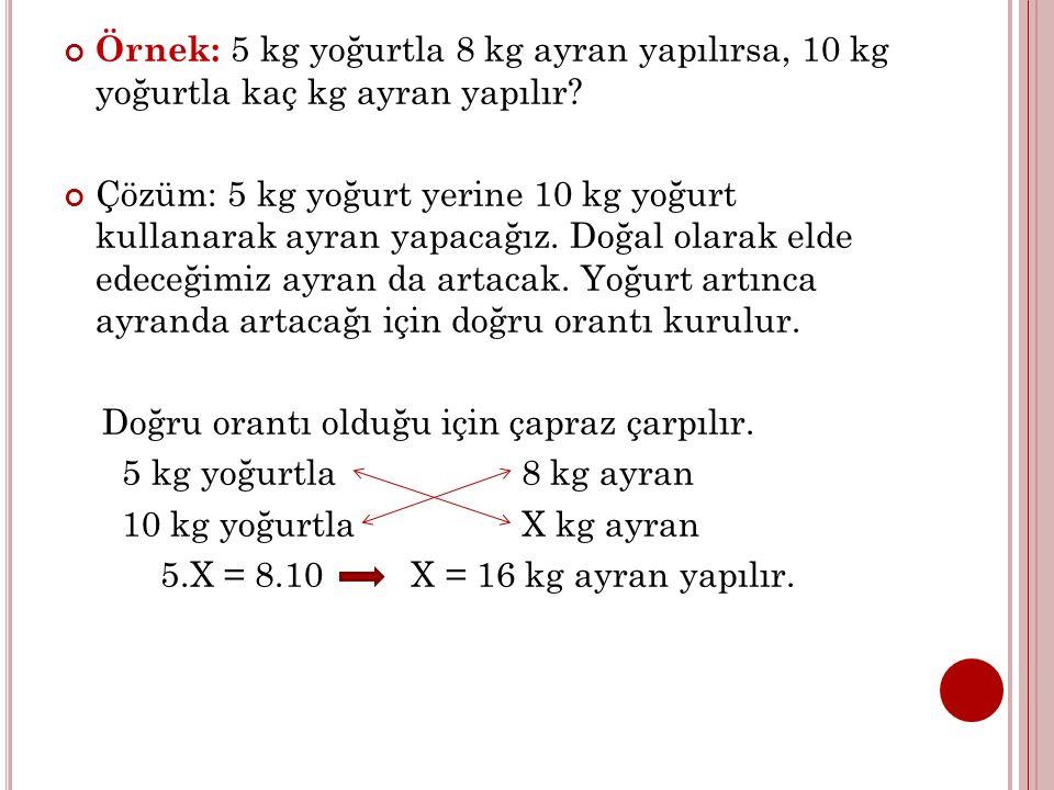 Örnek: 5 kg yoğurtla 8 kg ayran yapılırsa, 10 kg yoğurtla kaç kg ayran yapılır