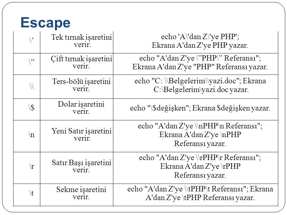 Escape \' Tek tırnak işaretini verir. echo A\ dan Z\ ye PHP ;