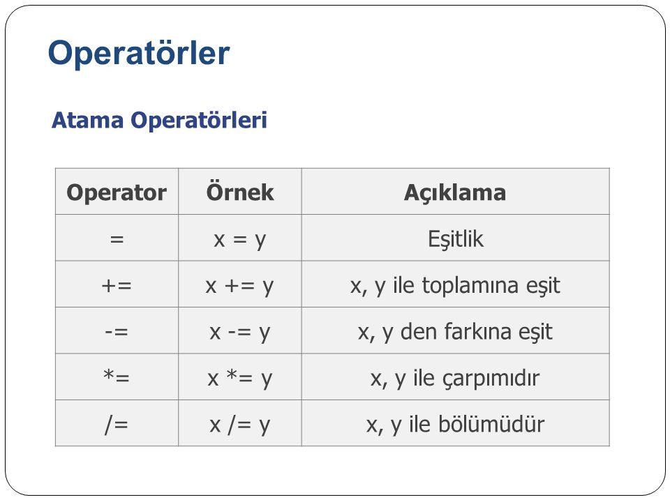 Operatörler Atama Operatörleri Operator Örnek Açıklama = x = y Eşitlik
