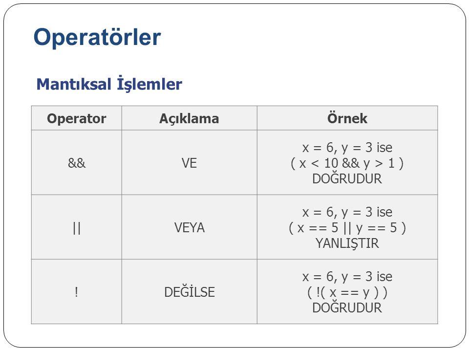 Operatörler Mantıksal İşlemler Operator Açıklama Örnek && VE