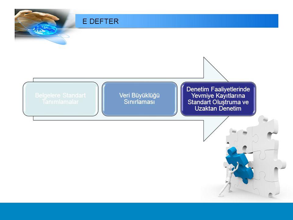E DEFTER Belgelere Standart Tanımlamalar Veri Büyüklüğü Sınırlaması