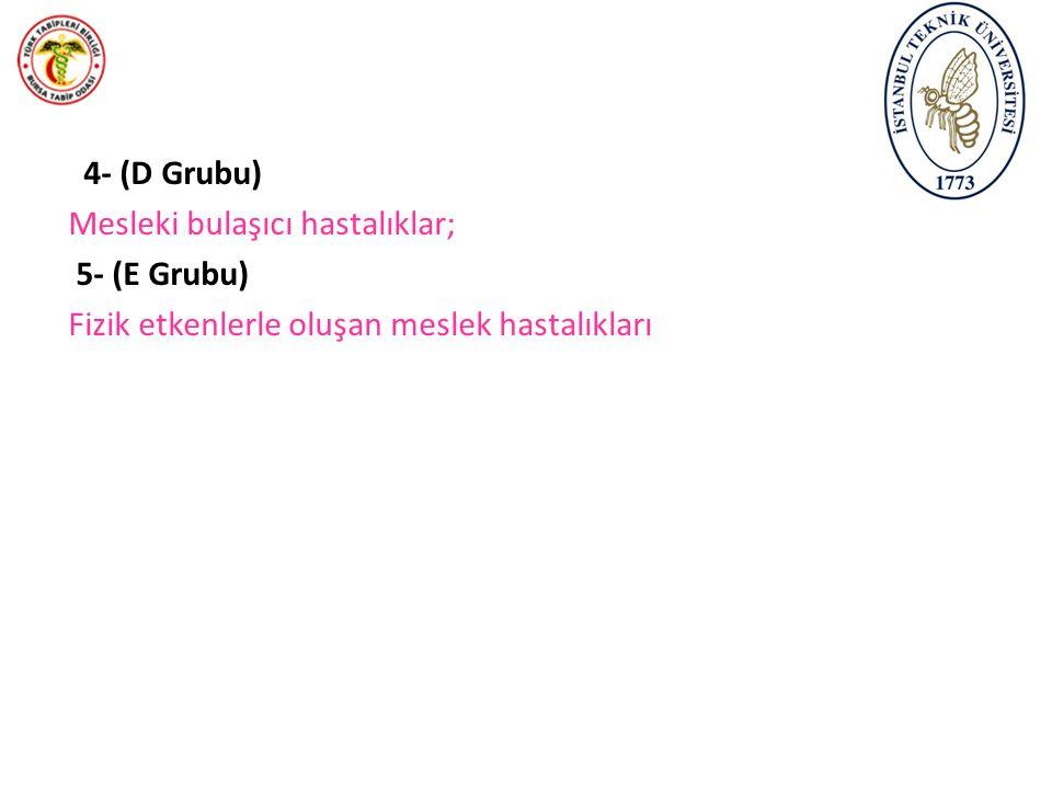 4- (D Grubu) Mesleki bulaşıcı hastalıklar; 5- (E Grubu) Fizik etkenlerle oluşan meslek hastalıkları