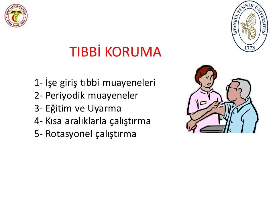 TIBBİ KORUMA 1- İşe giriş tıbbi muayeneleri 2- Periyodik muayeneler