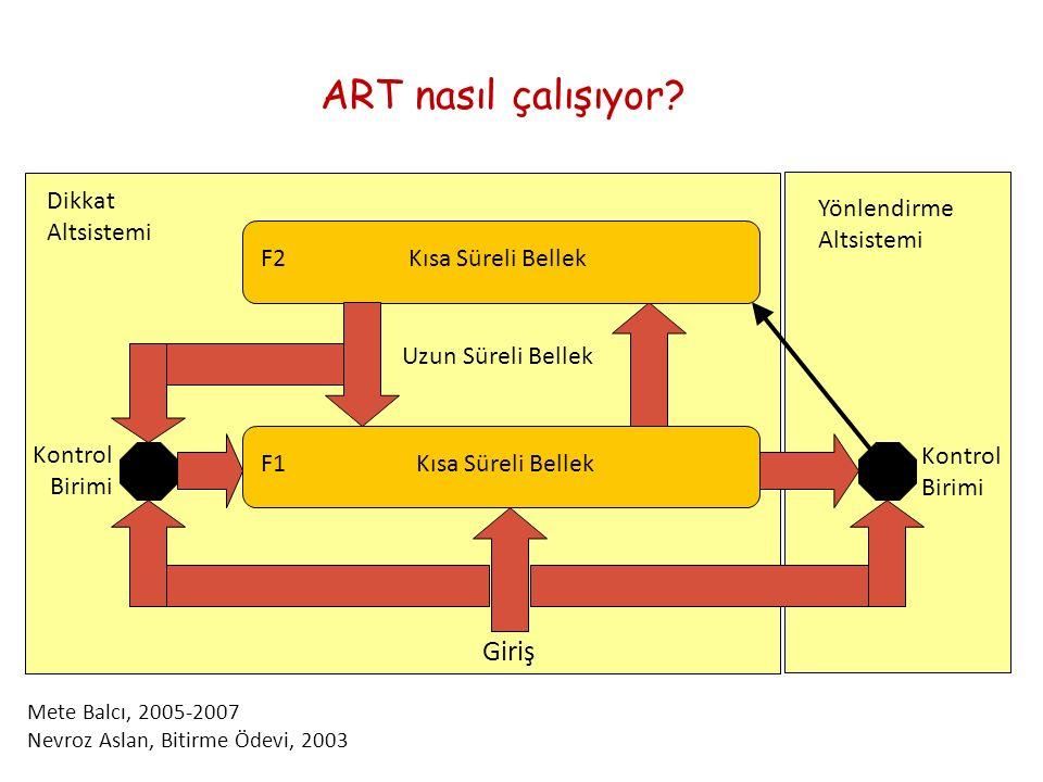 ART nasıl çalışıyor Giriş Dikkat Altsistemi Yönlendirme Altsistemi F2