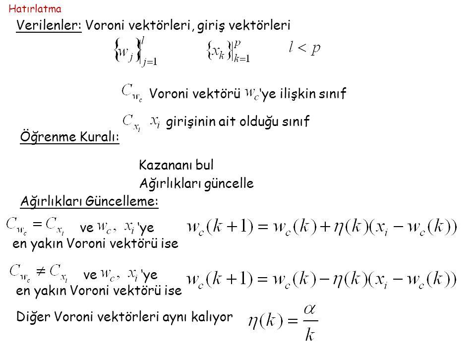 Verilenler: Voroni vektörleri, giriş vektörleri