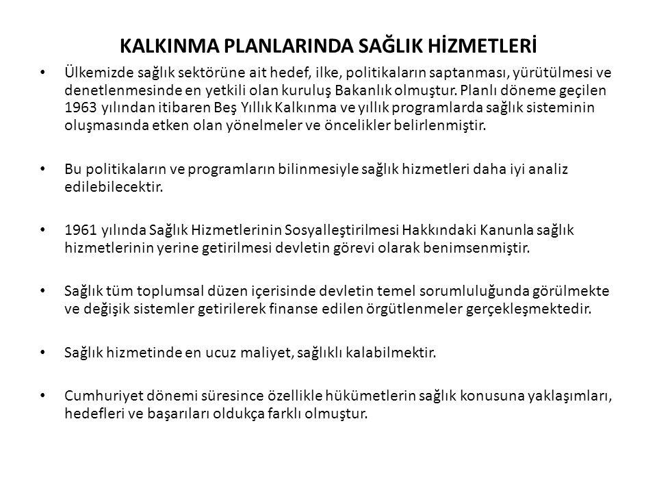 KALKINMA PLANLARINDA SAĞLIK HİZMETLERİ