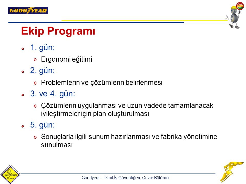 Ekip Programı 1. gün: 2. gün: 3. ve 4. gün: 5. gün: Ergonomi eğitimi