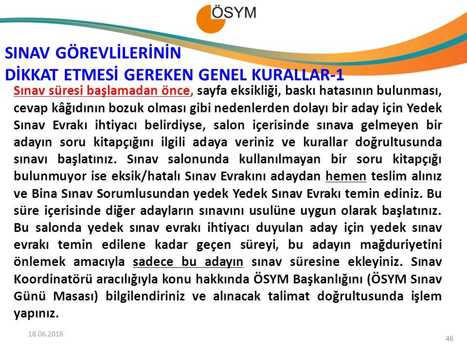 SINAV GÖREVLİLERİNİN DİKKAT ETMESİ GEREKEN GENEL KURALLAR-1