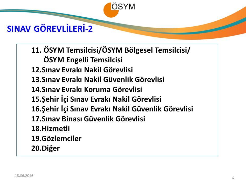 SINAV GÖREVLİLERİ-2 ÖSYM Temsilcisi/ÖSYM Bölgesel Temsilcisi/