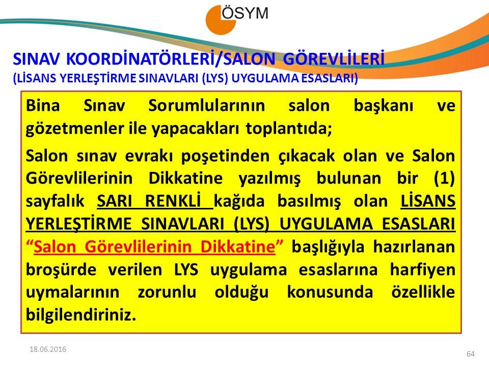 SINAV KOORDİNATÖRLERİ/SALON GÖREVLİLERİ