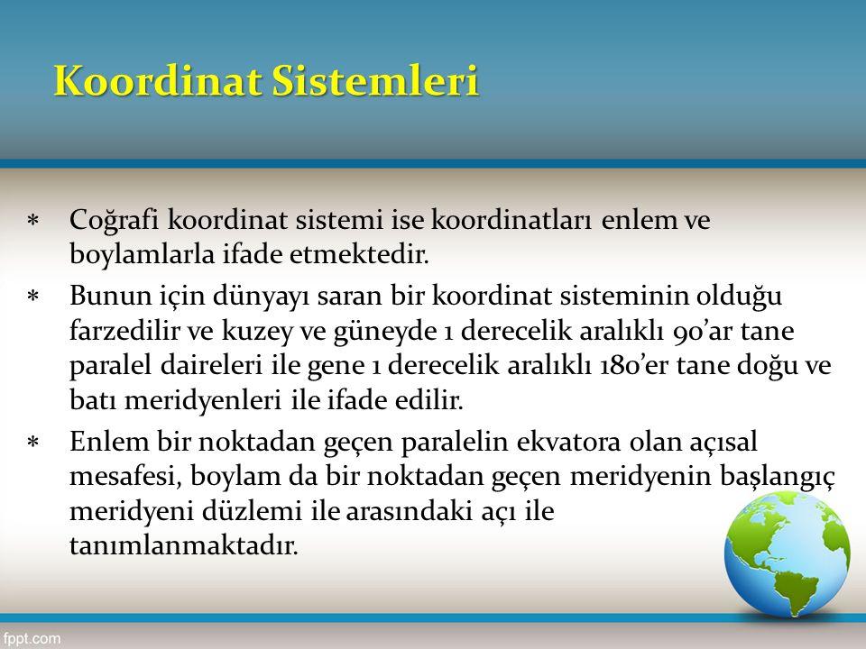 Koordinat Sistemleri Coğrafi koordinat sistemi ise koordinatları enlem ve boylamlarla ifade etmektedir.