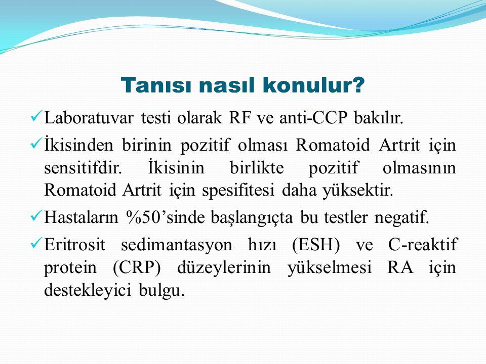 Tanısı nasıl konulur Laboratuvar testi olarak RF ve anti-CCP bakılır.
