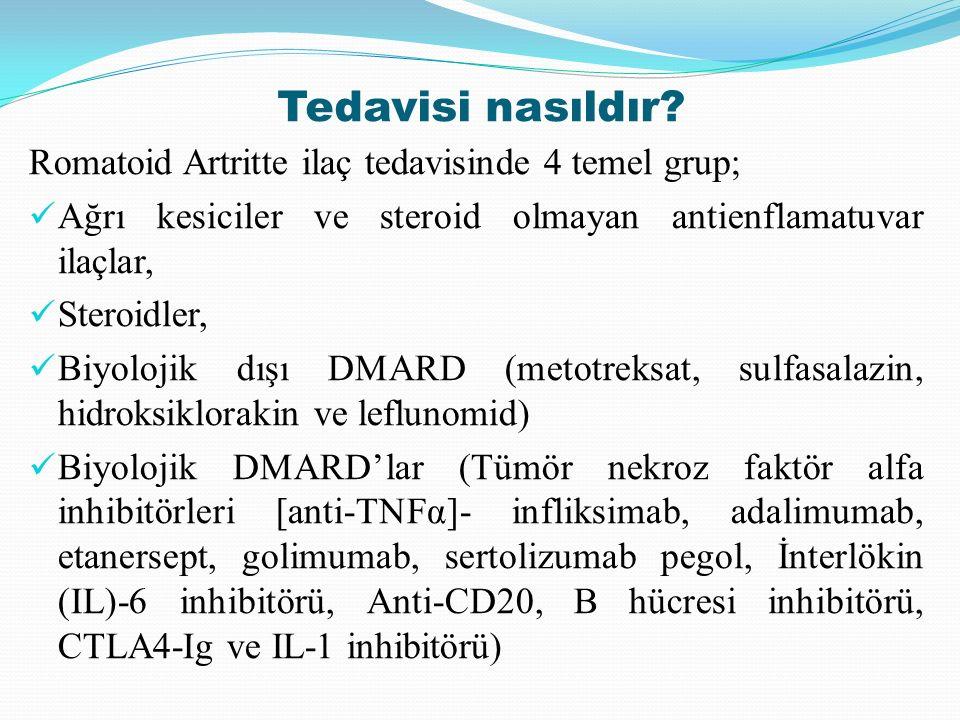 Tedavisi nasıldır Romatoid Artritte ilaç tedavisinde 4 temel grup;