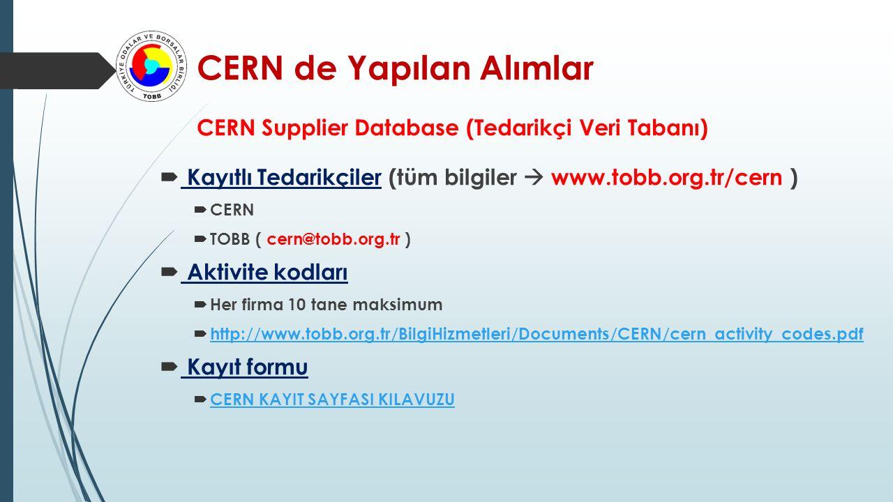 CERN de Yapılan Alımlar CERN Supplier Database (Tedarikçi Veri Tabanı)