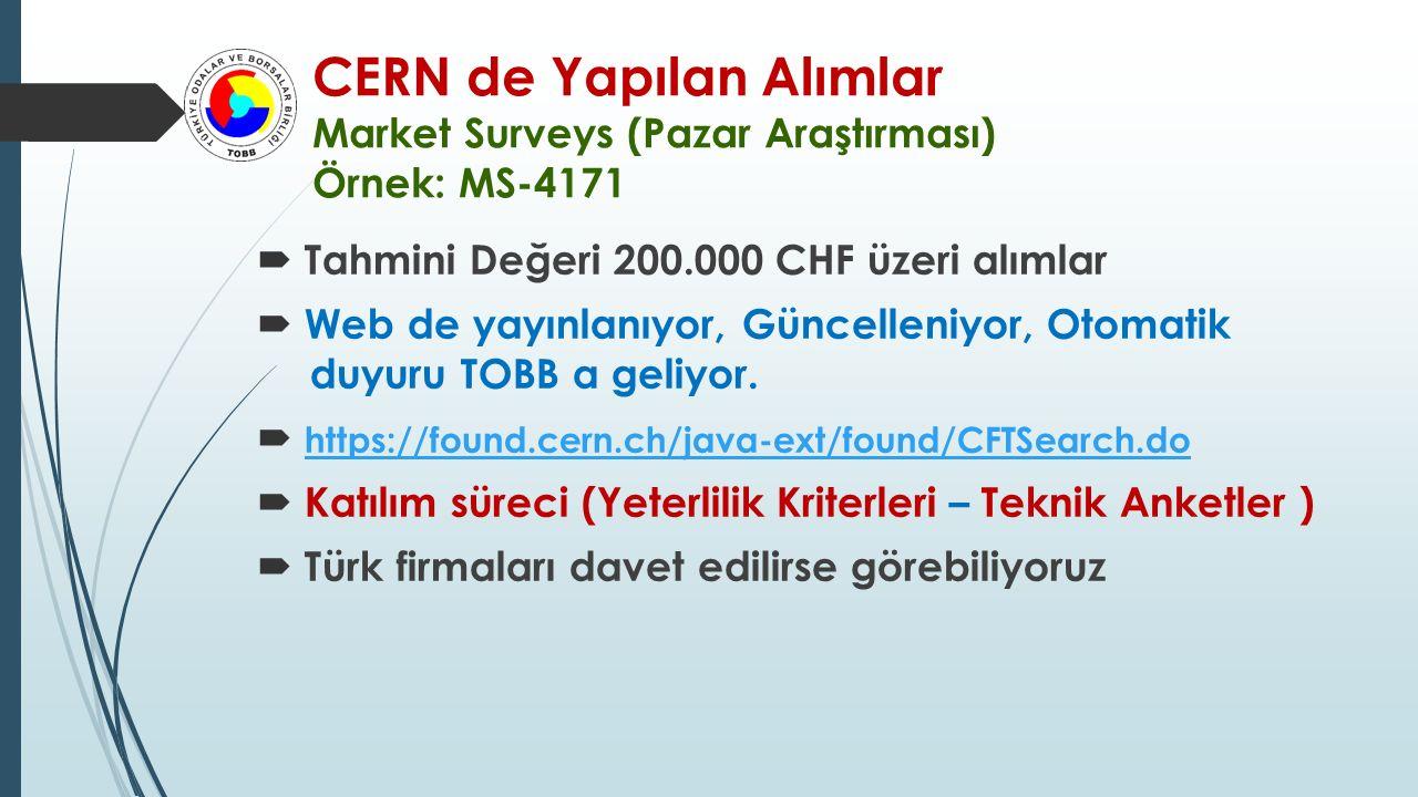 CERN de Yapılan Alımlar Market Surveys (Pazar Araştırması) Örnek: MS-4171