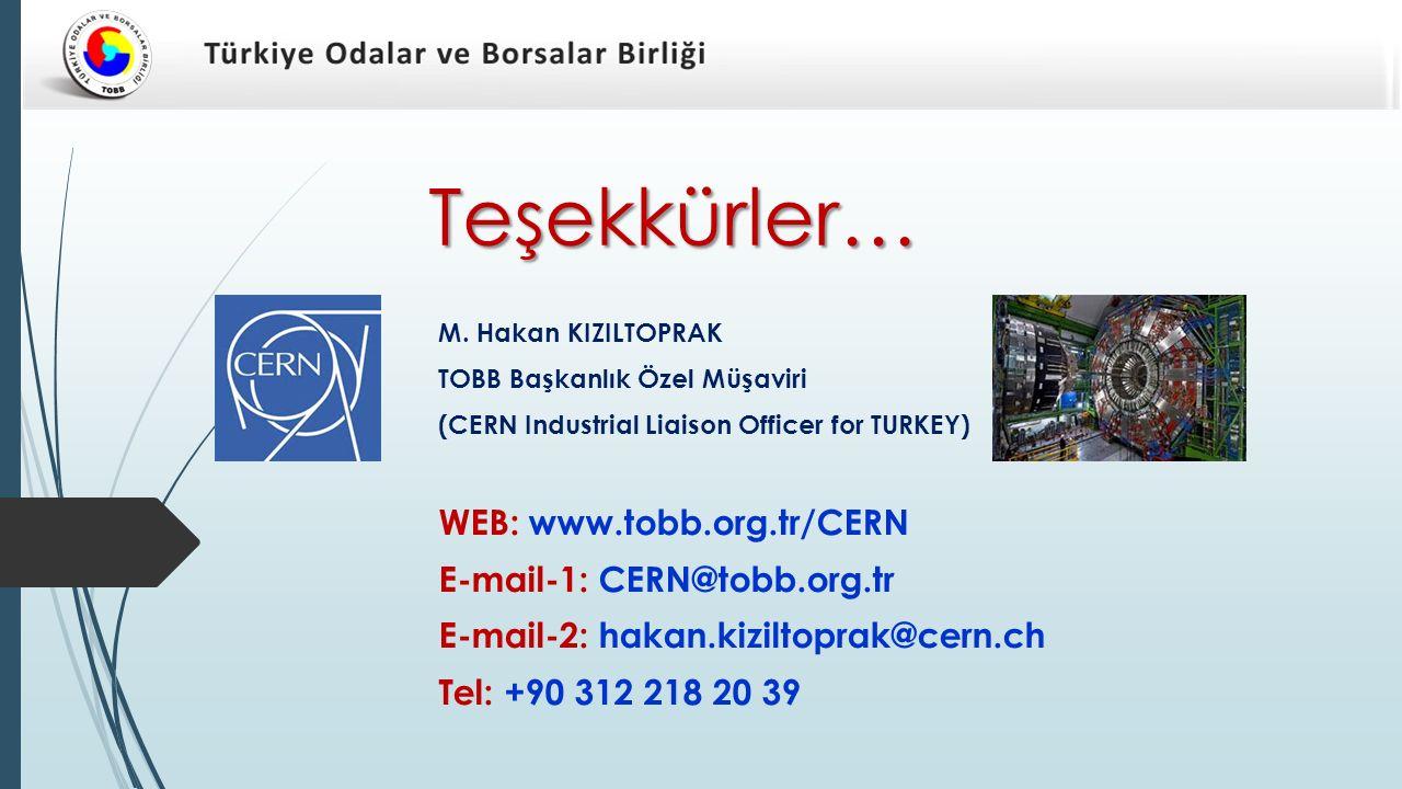 Teşekkürler… M. Hakan KIZILTOPRAK. TOBB Başkanlık Özel Müşaviri. (CERN Industrial Liaison Officer for TURKEY)