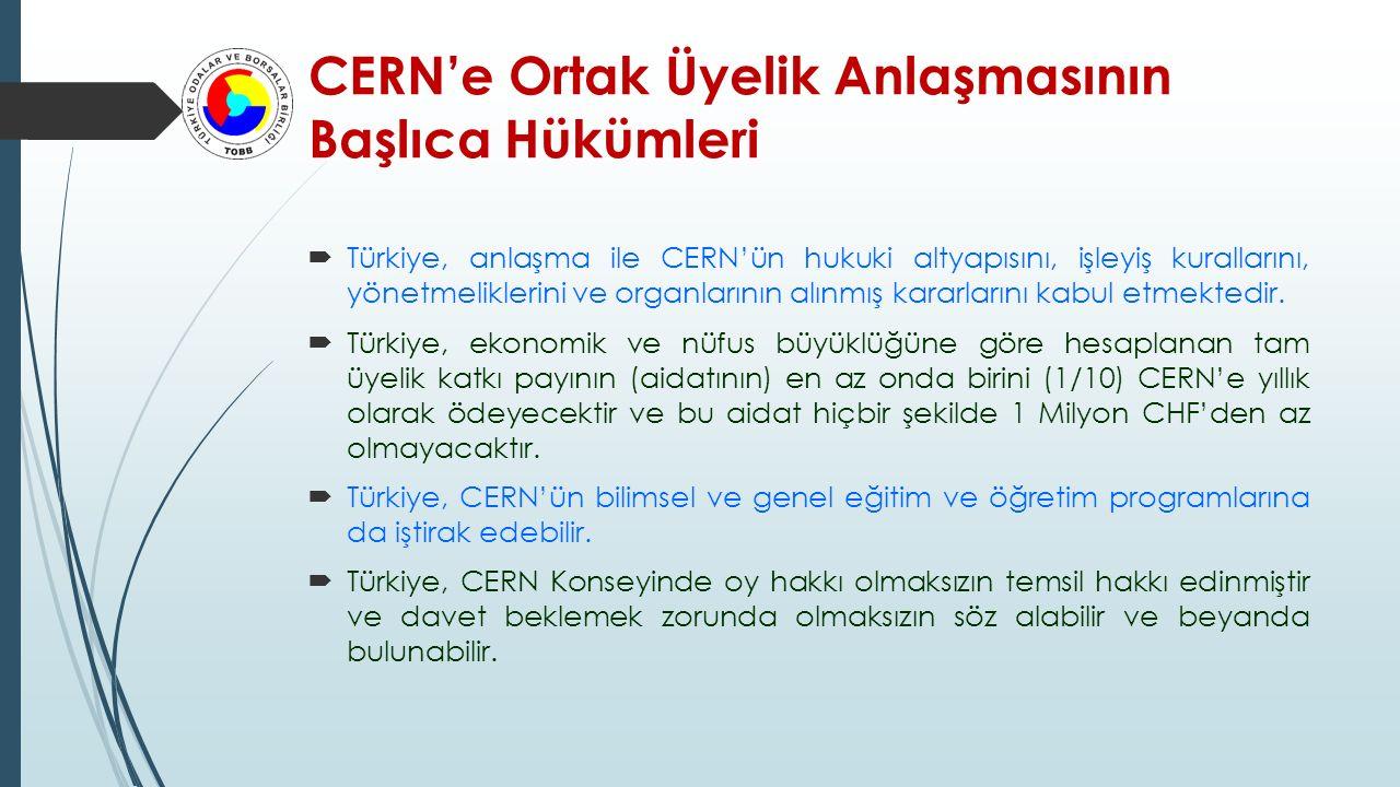 CERN'e Ortak Üyelik Anlaşmasının Başlıca Hükümleri
