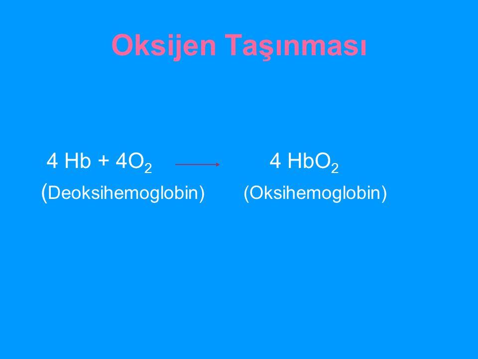 Oksijen Taşınması 4 Hb + 4O2 4 HbO2