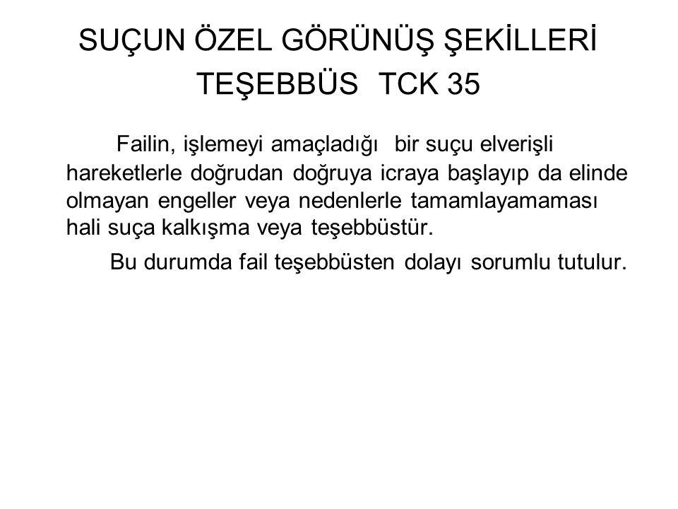 SUÇUN ÖZEL GÖRÜNÜŞ ŞEKİLLERİ TEŞEBBÜS TCK 35