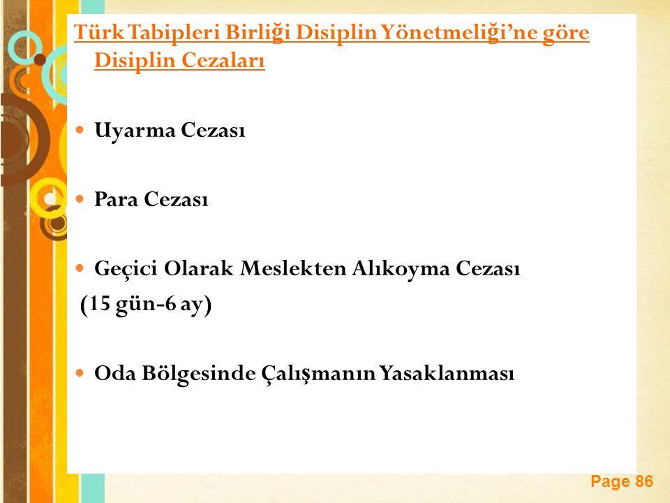 Türk Tabipleri Birliği Disiplin Yönetmeliği'ne göre Disiplin Cezaları