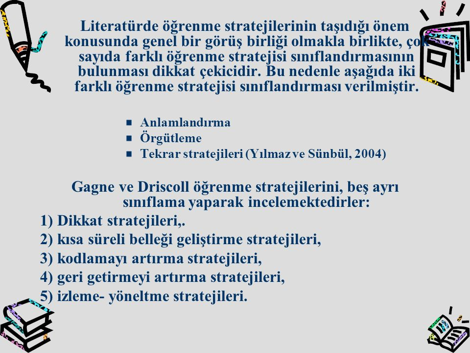 2) kısa süreli belleği geliştirme stratejileri,