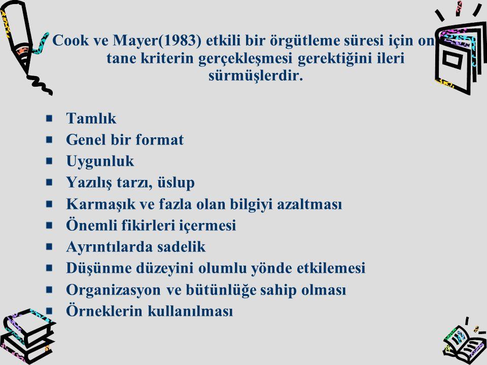 Cook ve Mayer(1983) etkili bir örgütleme süresi için on tane kriterin gerçekleşmesi gerektiğini ileri sürmüşlerdir.