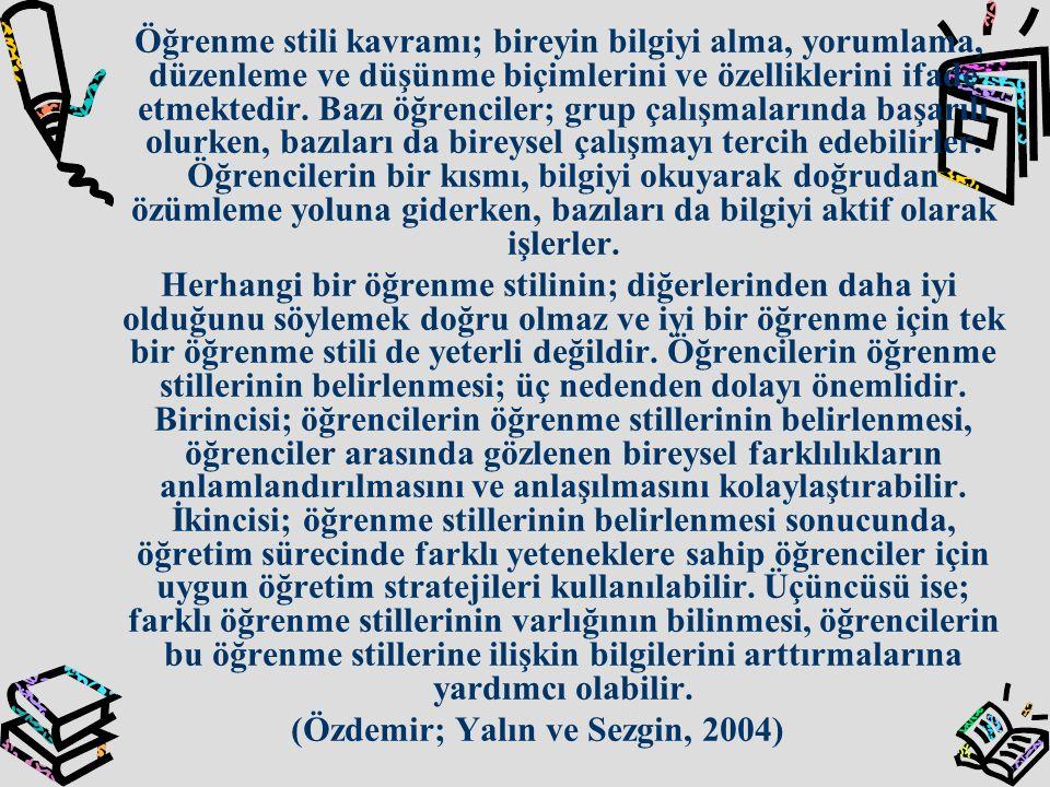 (Özdemir; Yalın ve Sezgin, 2004)