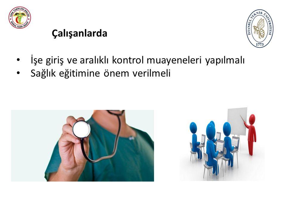 Çalışanlarda İşe giriş ve aralıklı kontrol muayeneleri yapılmalı Sağlık eğitimine önem verilmeli