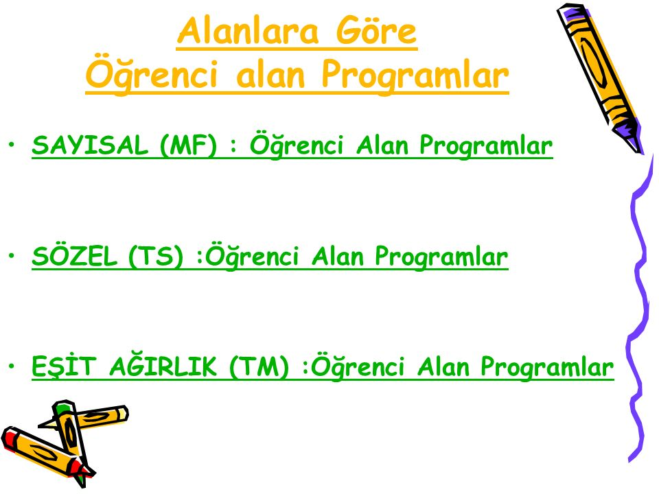 Alanlara Göre Öğrenci alan Programlar