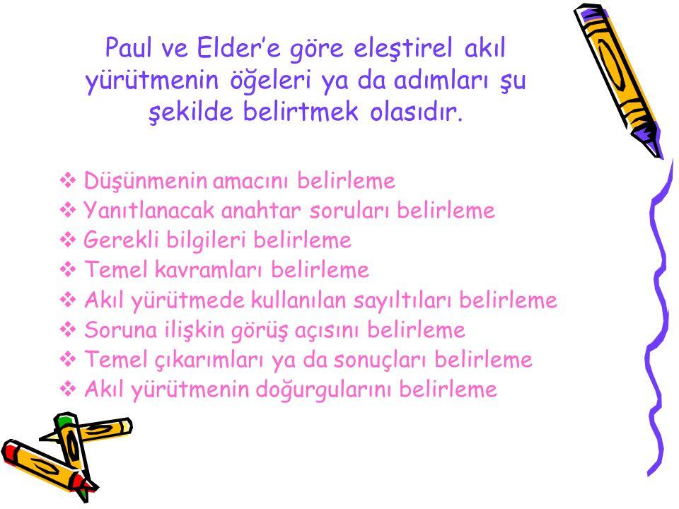 Paul ve Elder'e göre eleştirel akıl yürütmenin öğeleri ya da adımları şu şekilde belirtmek olasıdır.